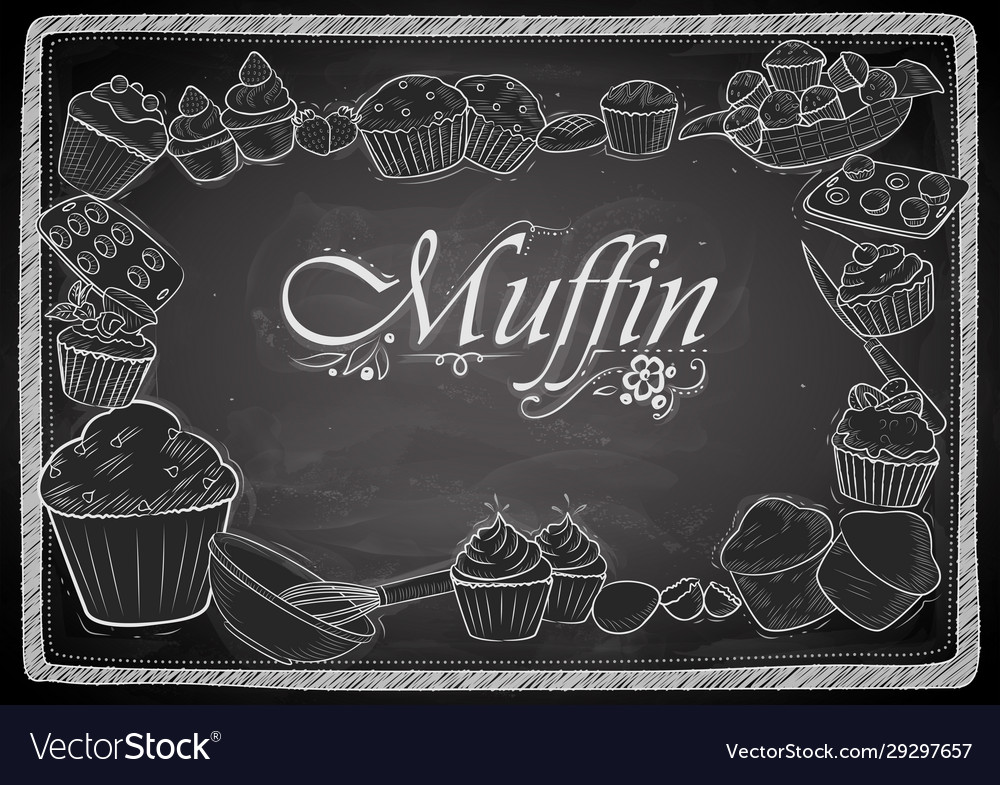 Template different types muffin for menu