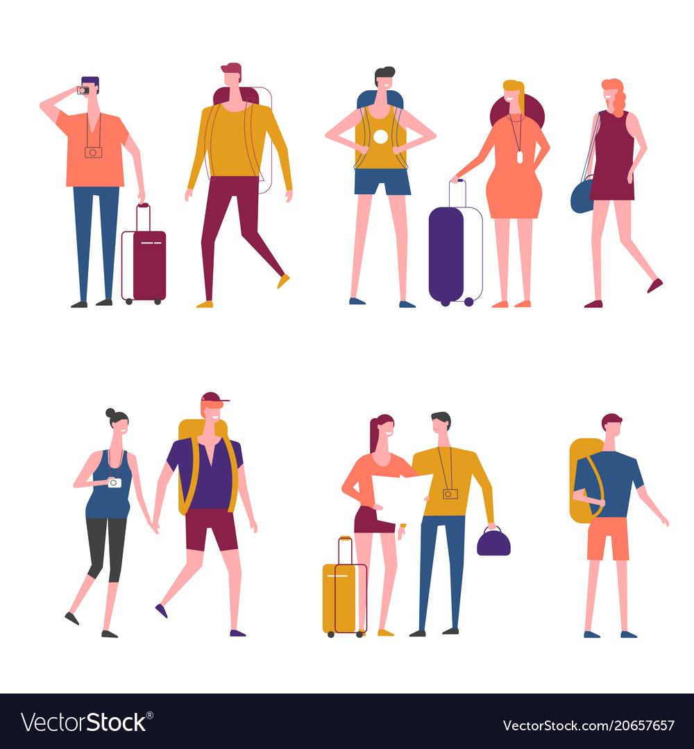 Travelers cartoon traveling people icons