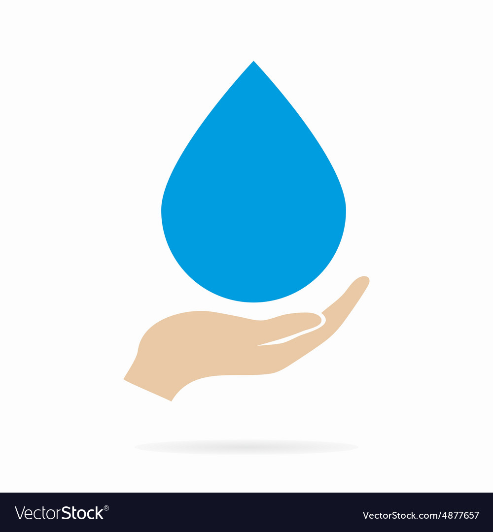 Water drop in hand logo or icon vector image
