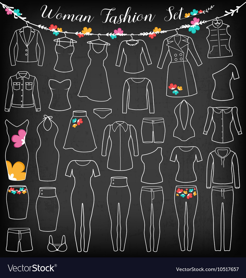 Woman Fashion Clothes Silhouette on Chalkboard