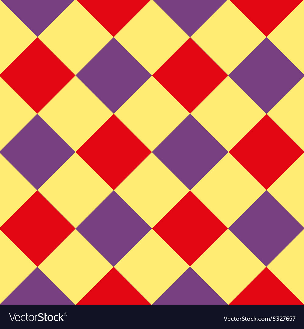 Yellow Purple Red Diamond Chessboard Background vector image