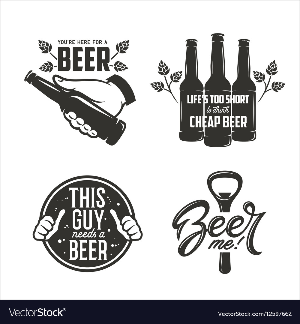 Beer relaterd quotes set Beer advertising design
