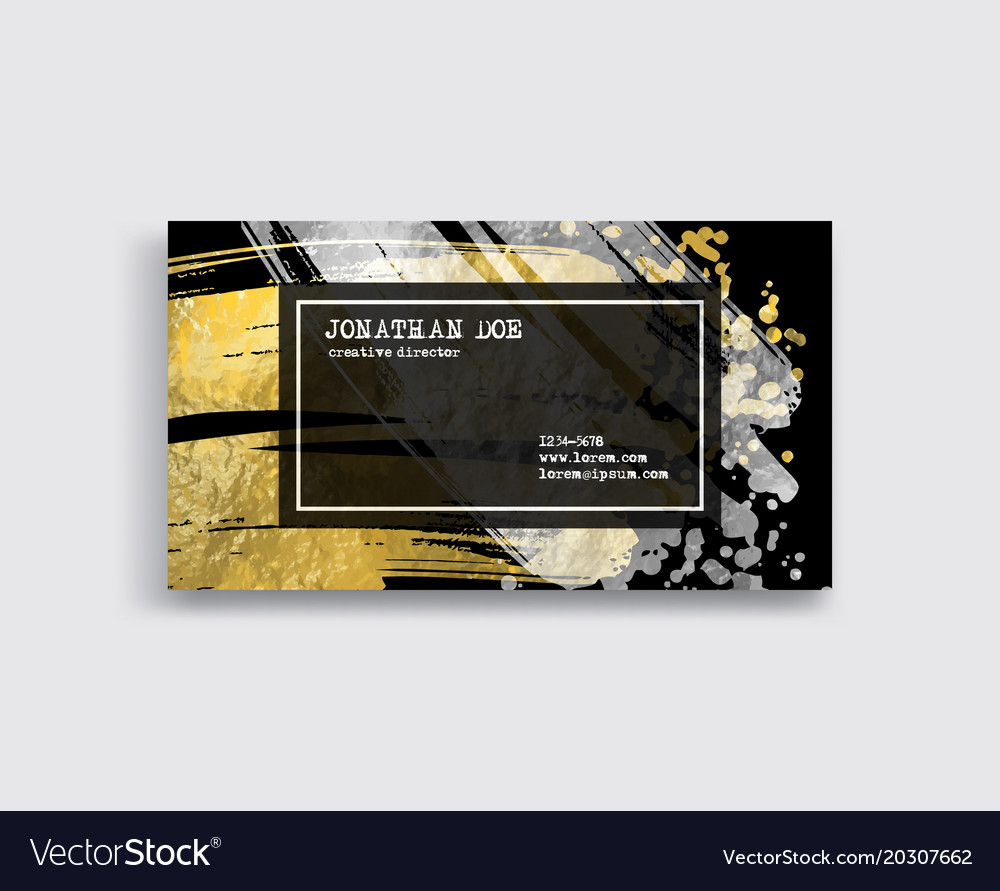 Black silver and gold business card template vector image reheart Gallery