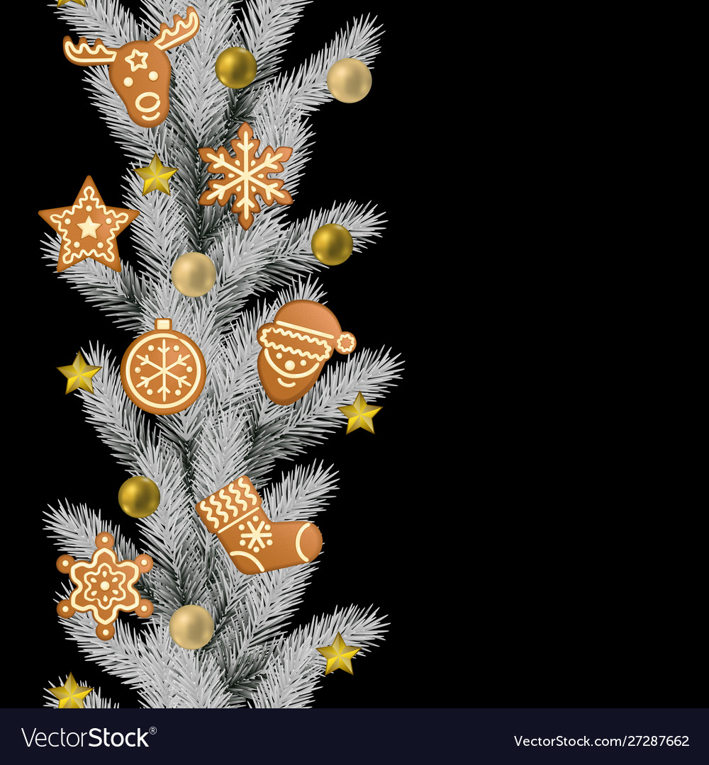 Christmas and new year seamless vertical border