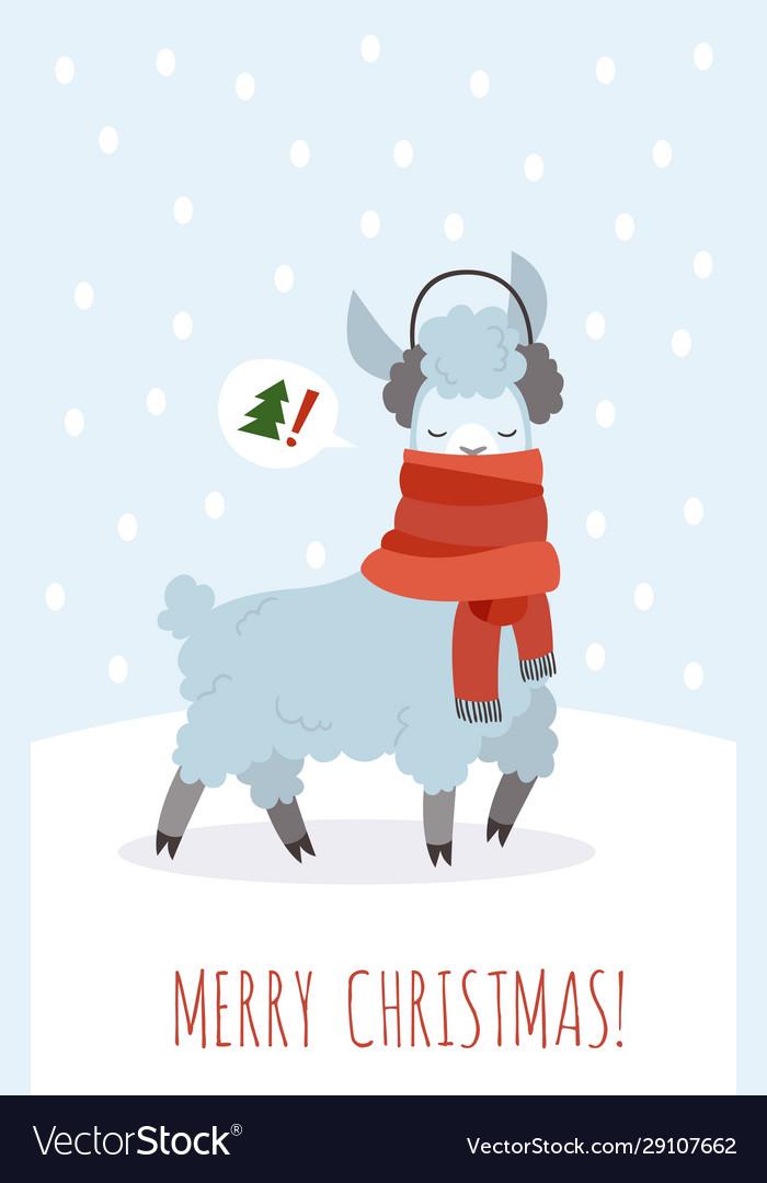 Christmas card with lama funny magic cute
