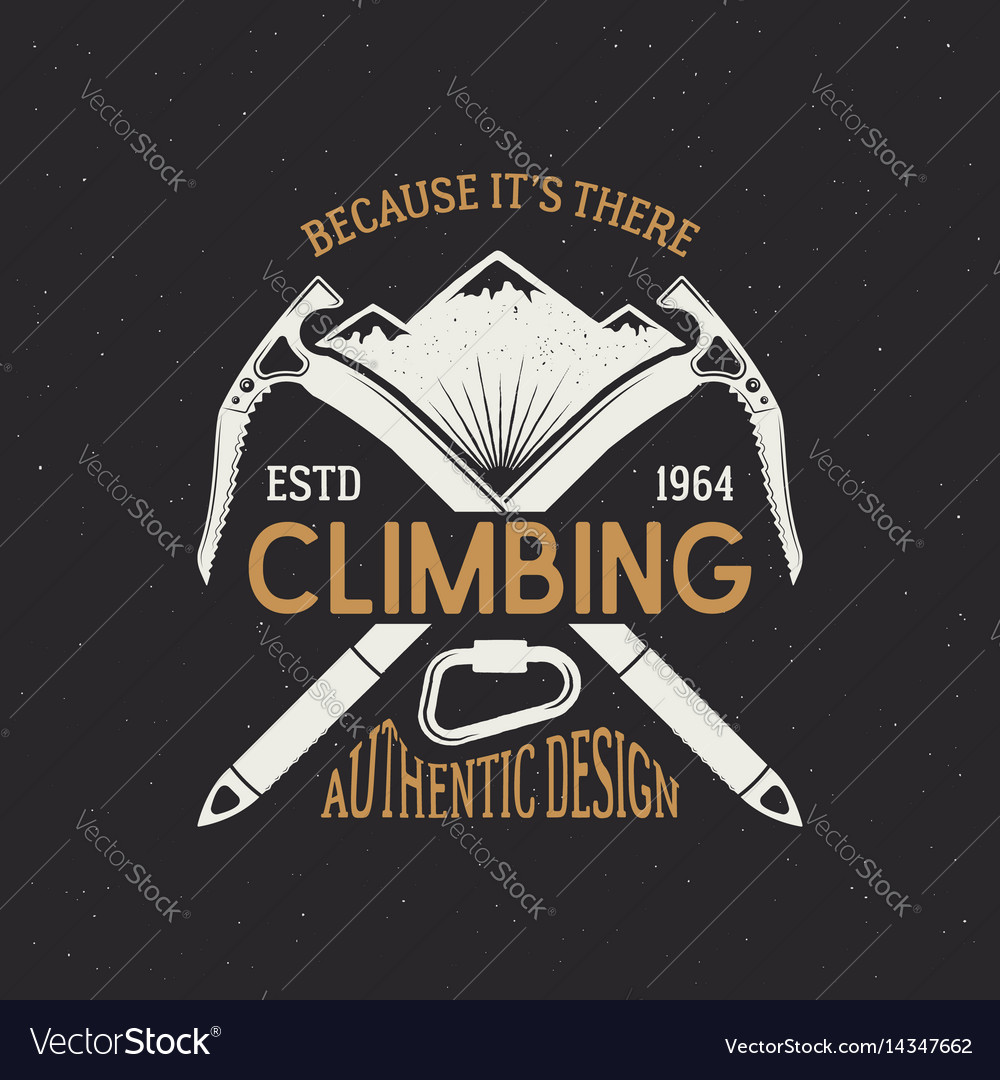 Climbing club emblem design vintage colors logo