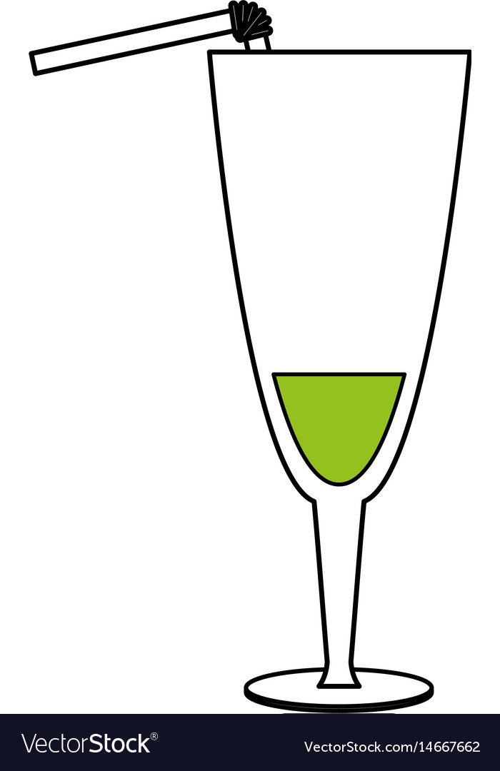 Color silhouette image glass cup of cocktail with
