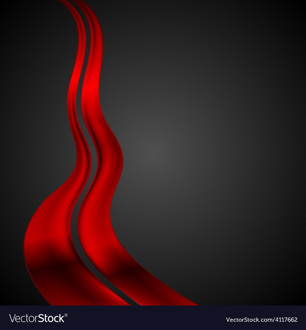 Dark red futuristic waves background vector image