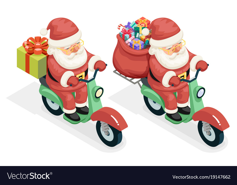 Delivery bag gift box santa claus courier scooter