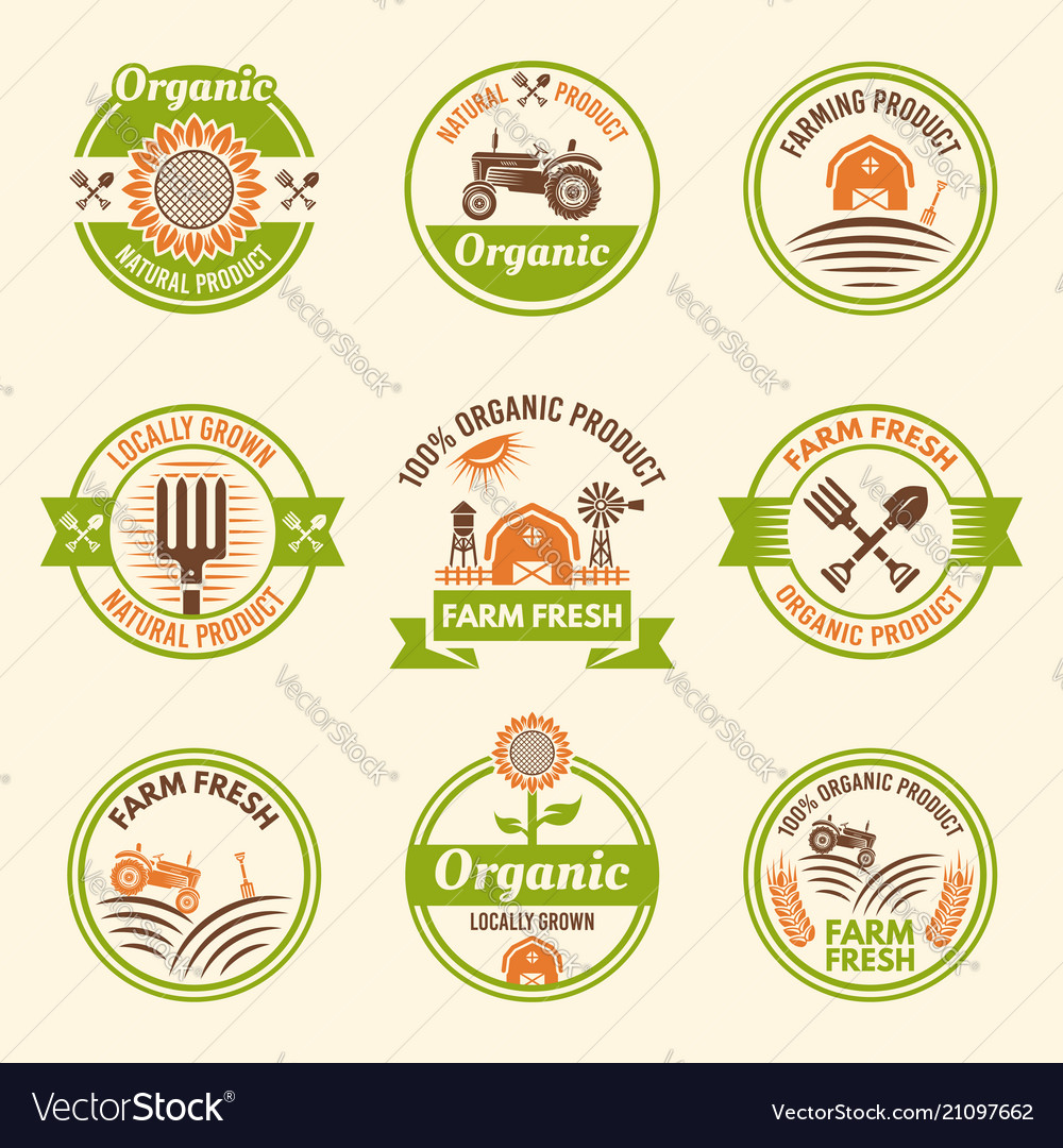 Farming organic products colored emblems