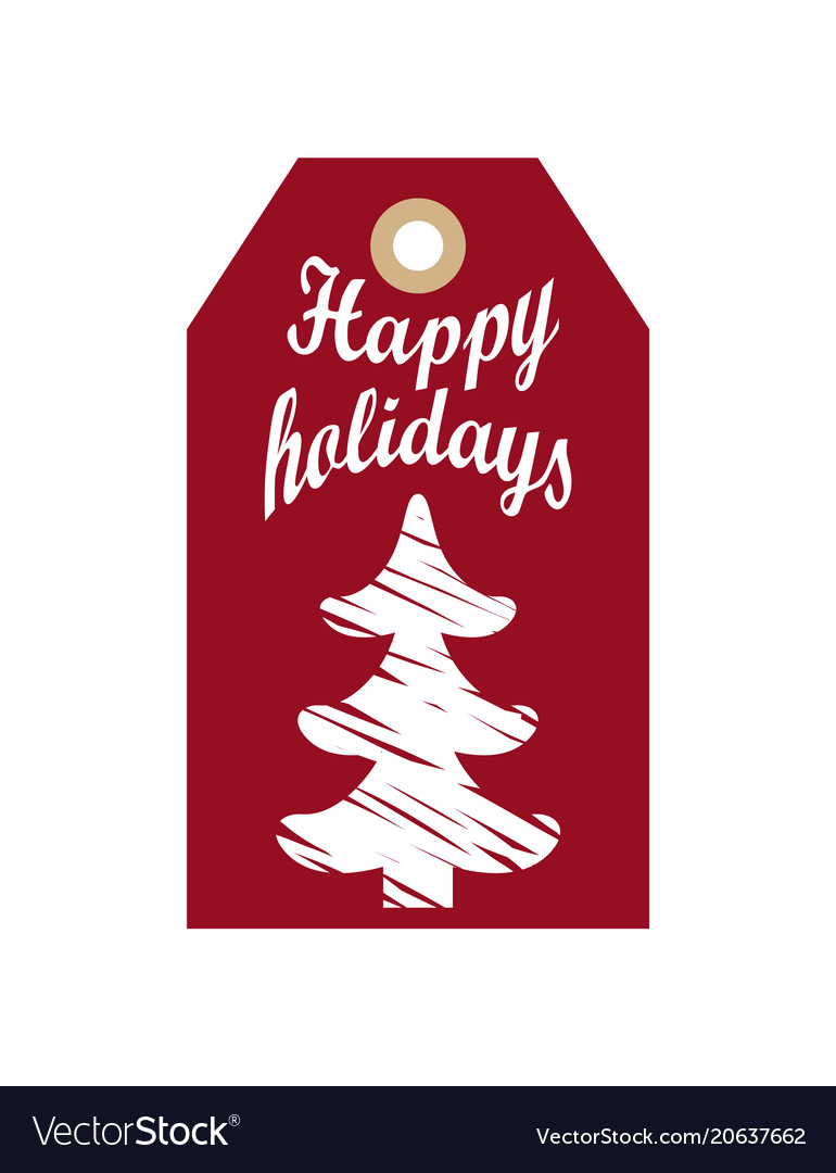 Happy holidays promo hanging label sketch of tree