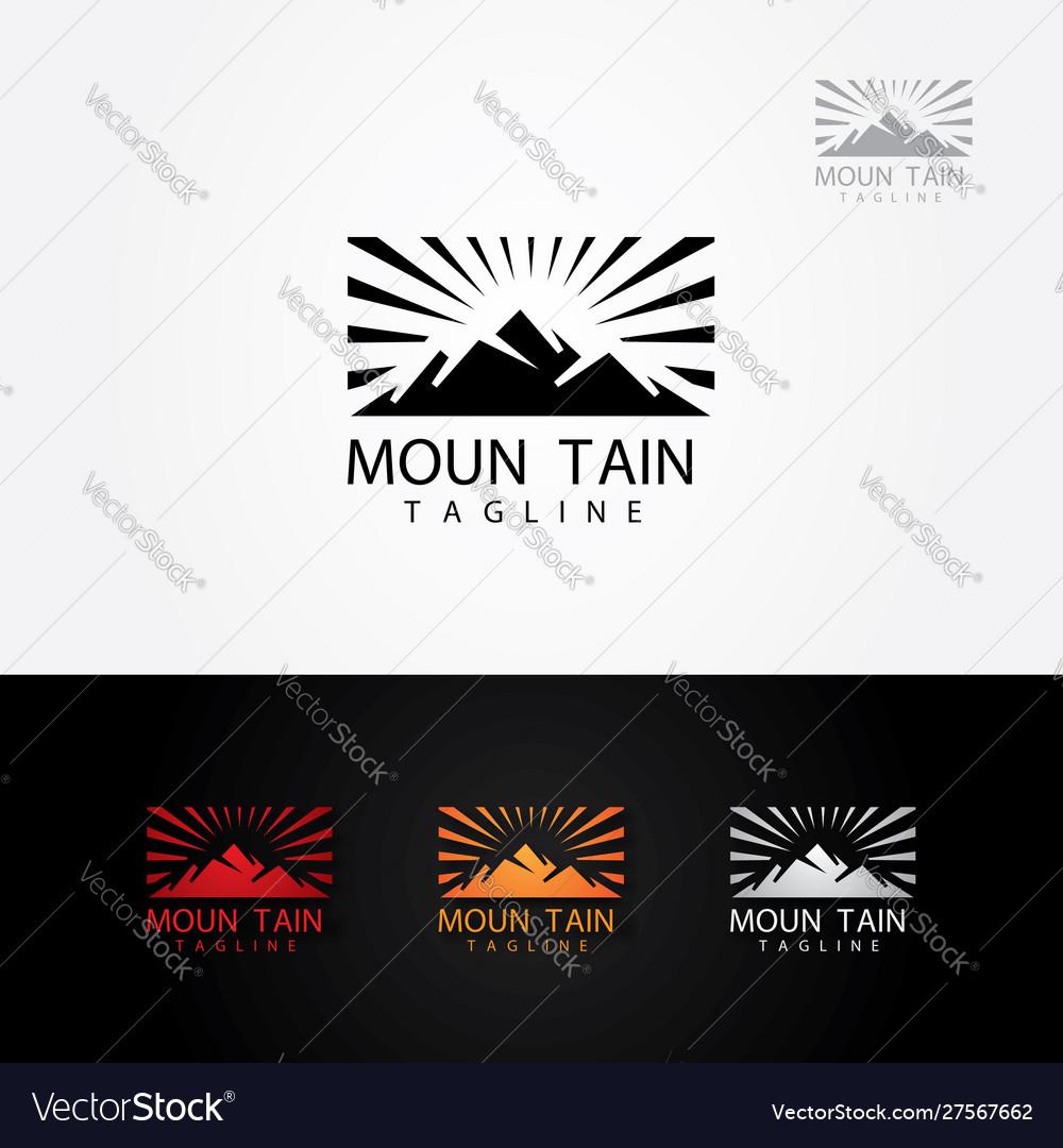 Mountain sun rise logo