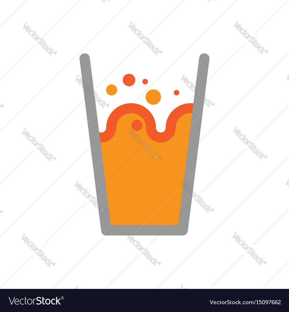 Orange juice in glass isolated splashes and drops vector image