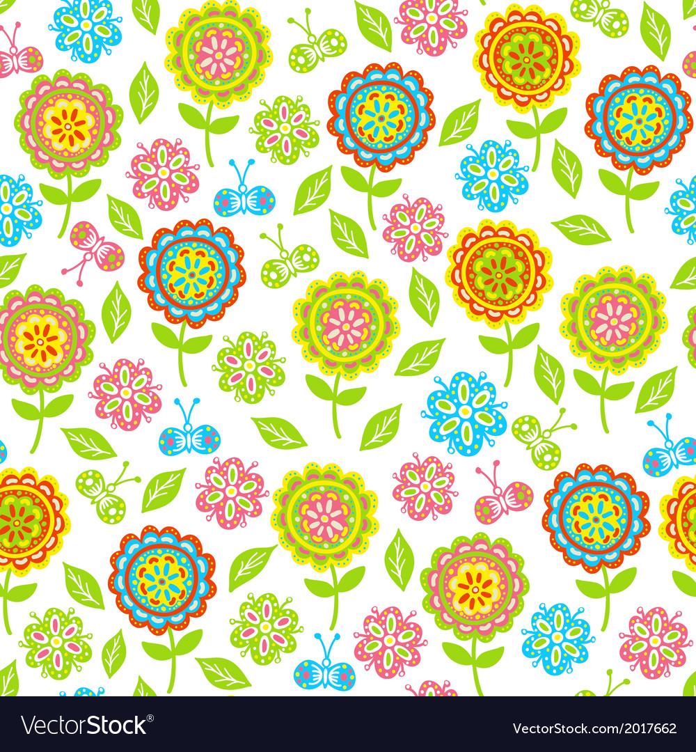 Seamless pattern of flowers butterflies leaves