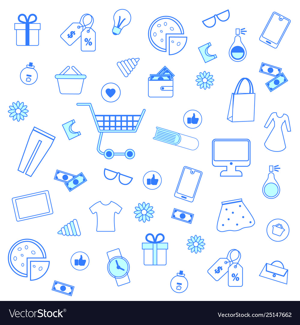 Seamless pattern with blue outline shopping icons
