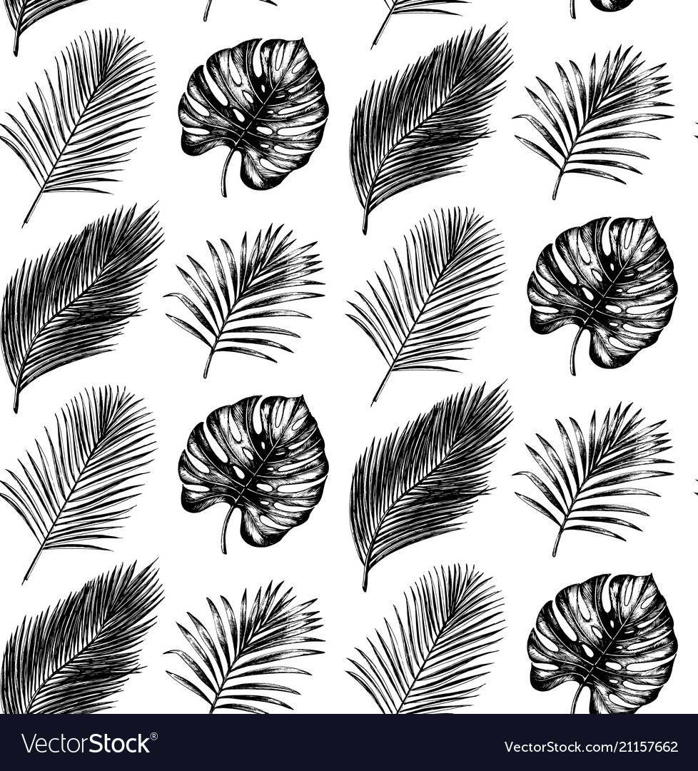 Tropical seamless pattern in exotic palm