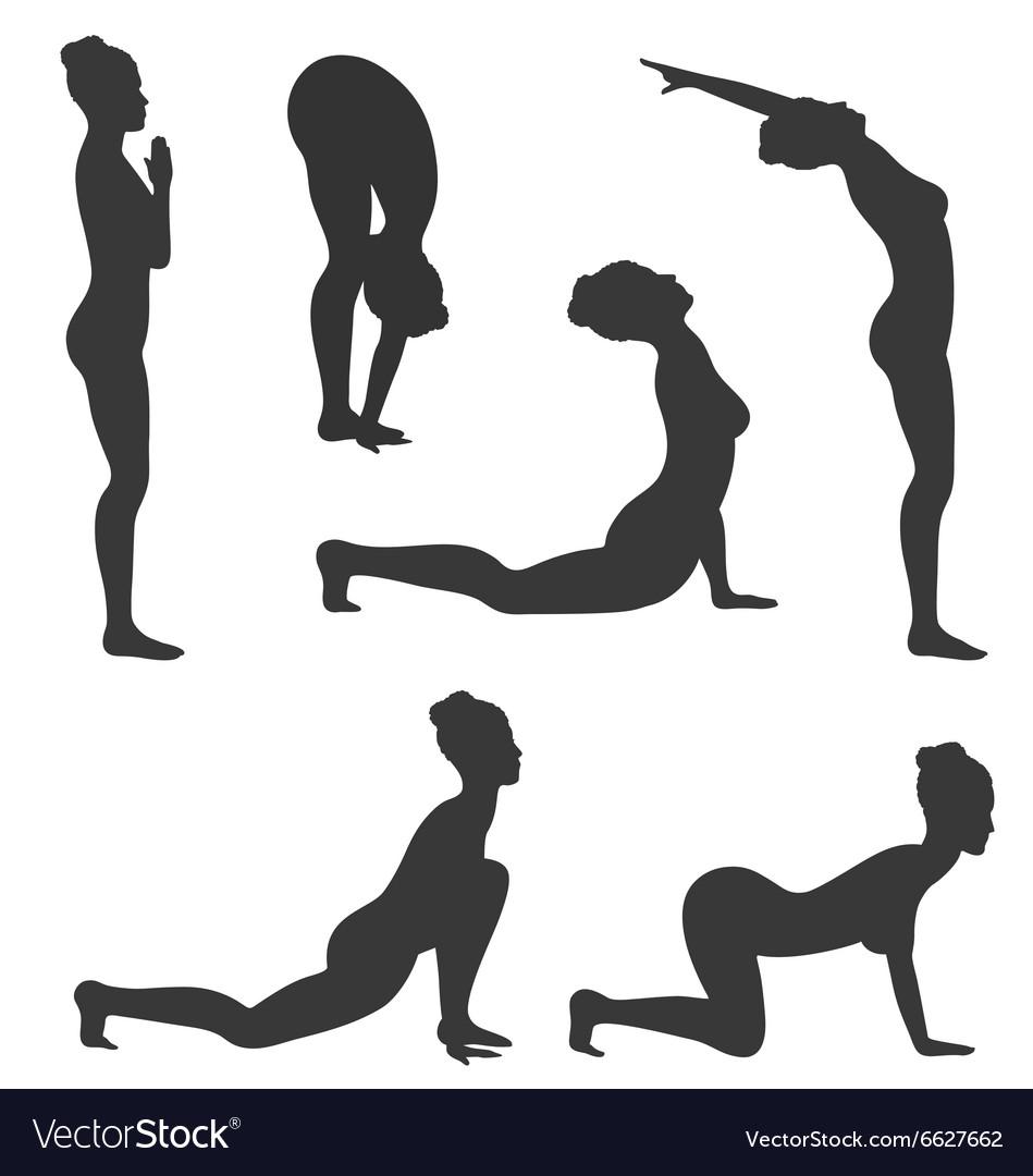 Woman in Yoga Poses Asanas Set Black Isolated on