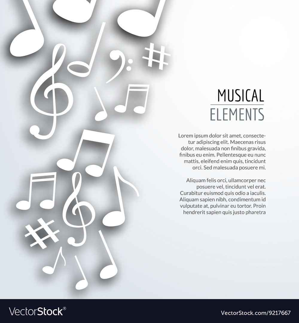 Abstract Music notes with shadows On white