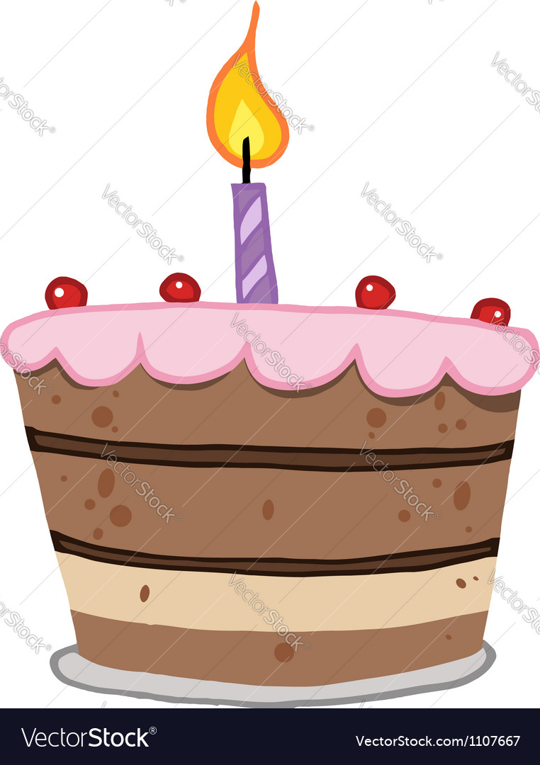 Stupendous Birthday Cake With One Candle Lit Royalty Free Vector Image Personalised Birthday Cards Akebfashionlily Jamesorg