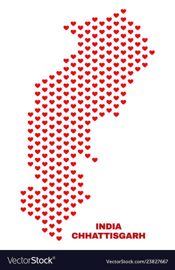Chhattisgarh state map - mosaic of love hearts