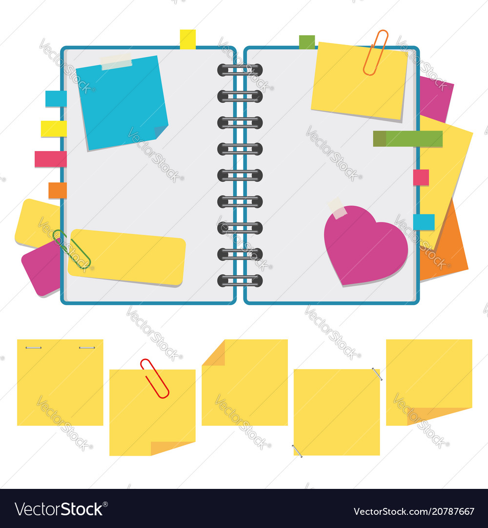 Color open notebook on rings with clean sheets a