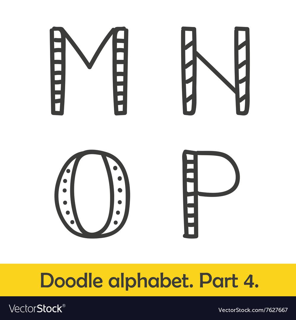 Cute Hand Drawn Alphabet Doodle Letters M P Vector Image