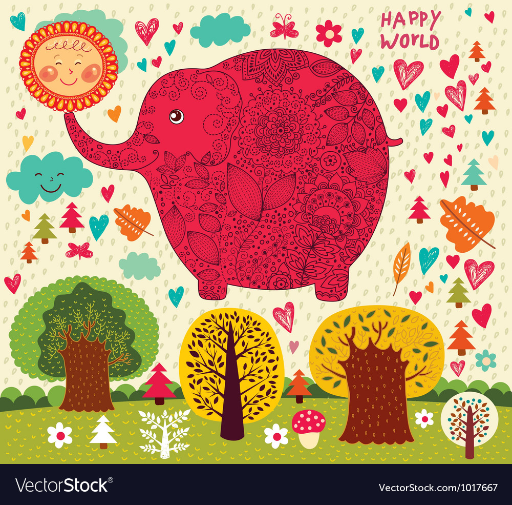 Floral Elephant vector image