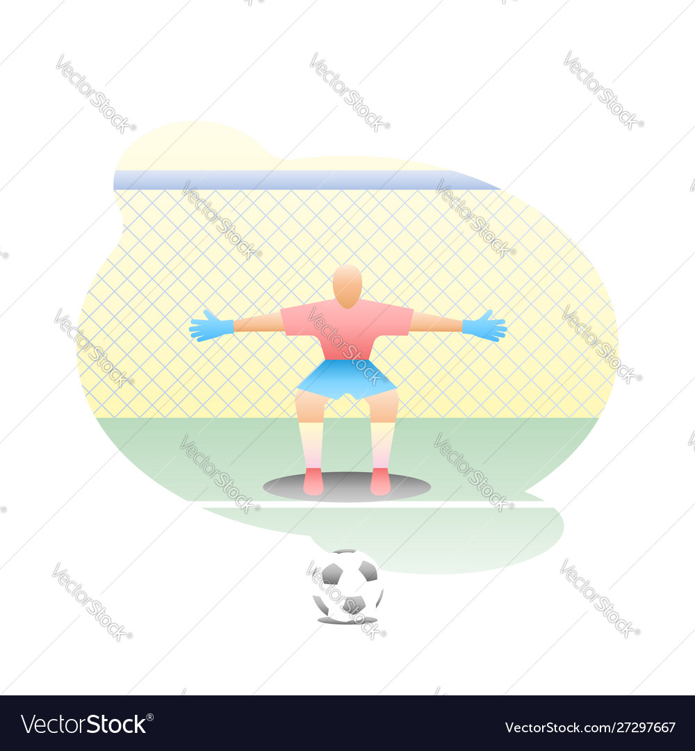 Football goalkeeper stands at goal with a net