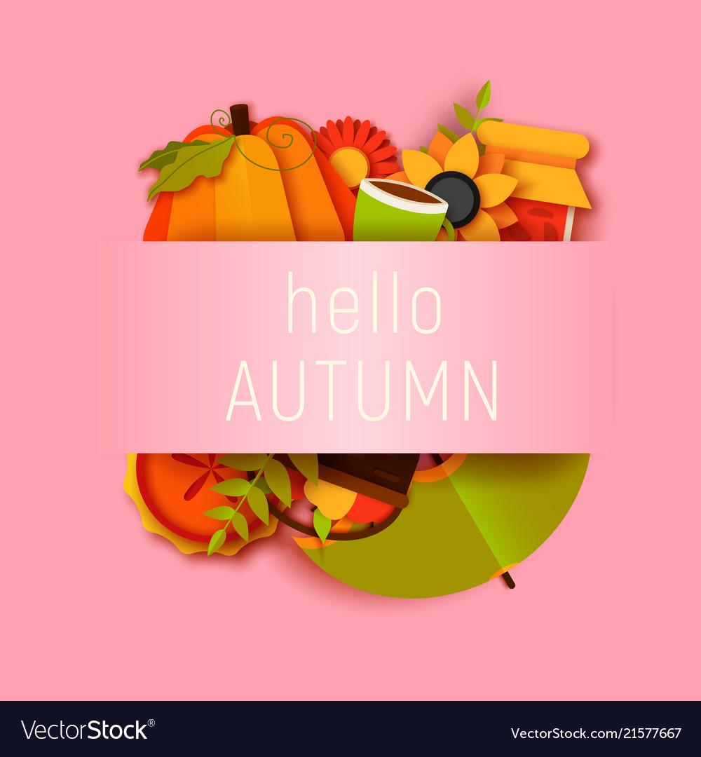 Hello autumn greeting card template fall
