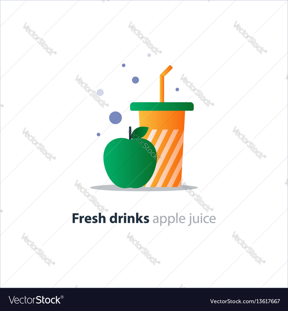 High glass with green apple refreshing fruit drink