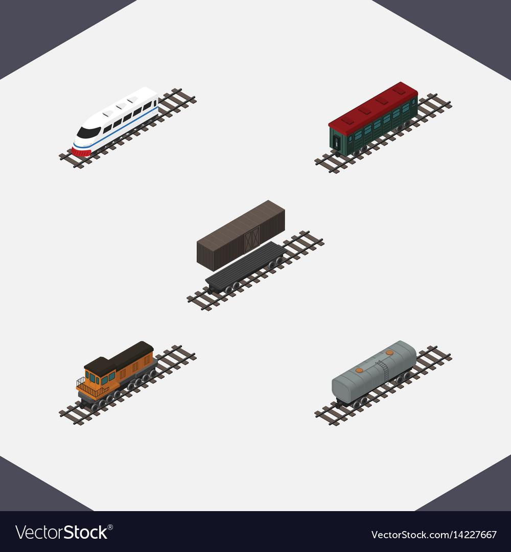 Isometric transport set of subway vehicle train
