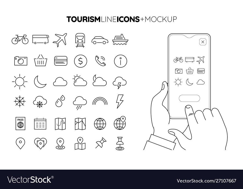 Line travel and tourism icon set with line hands