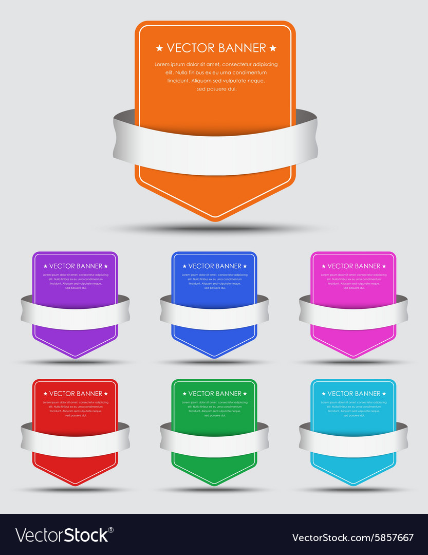 Set colorful banners with ribbon