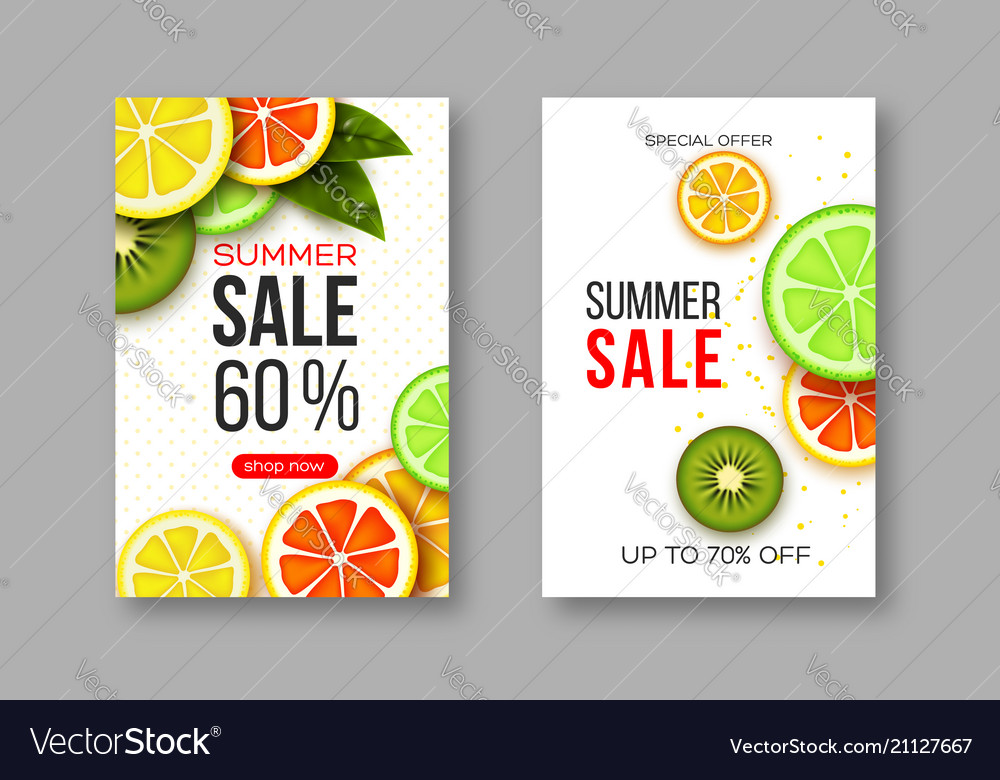 Summer sale banners with sliced citrus and kiwi