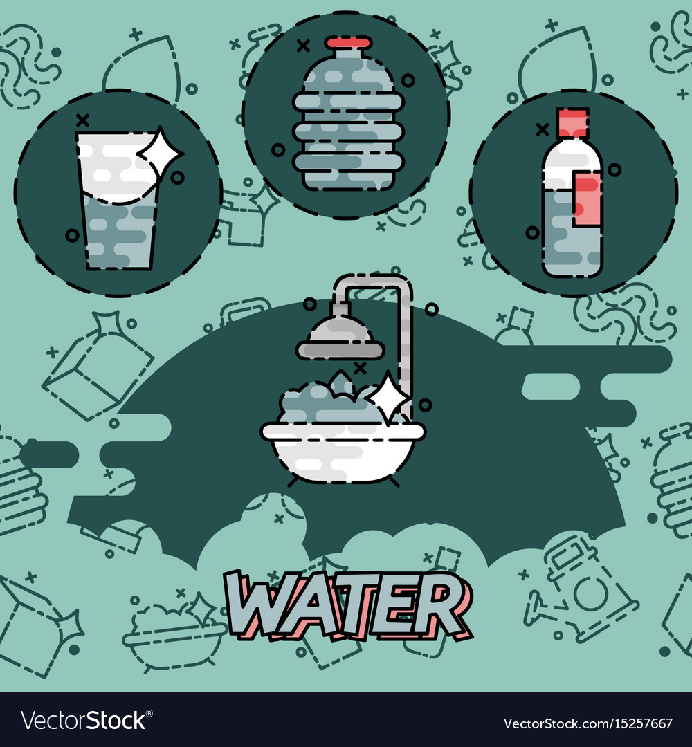 Water flat concept icons vector image