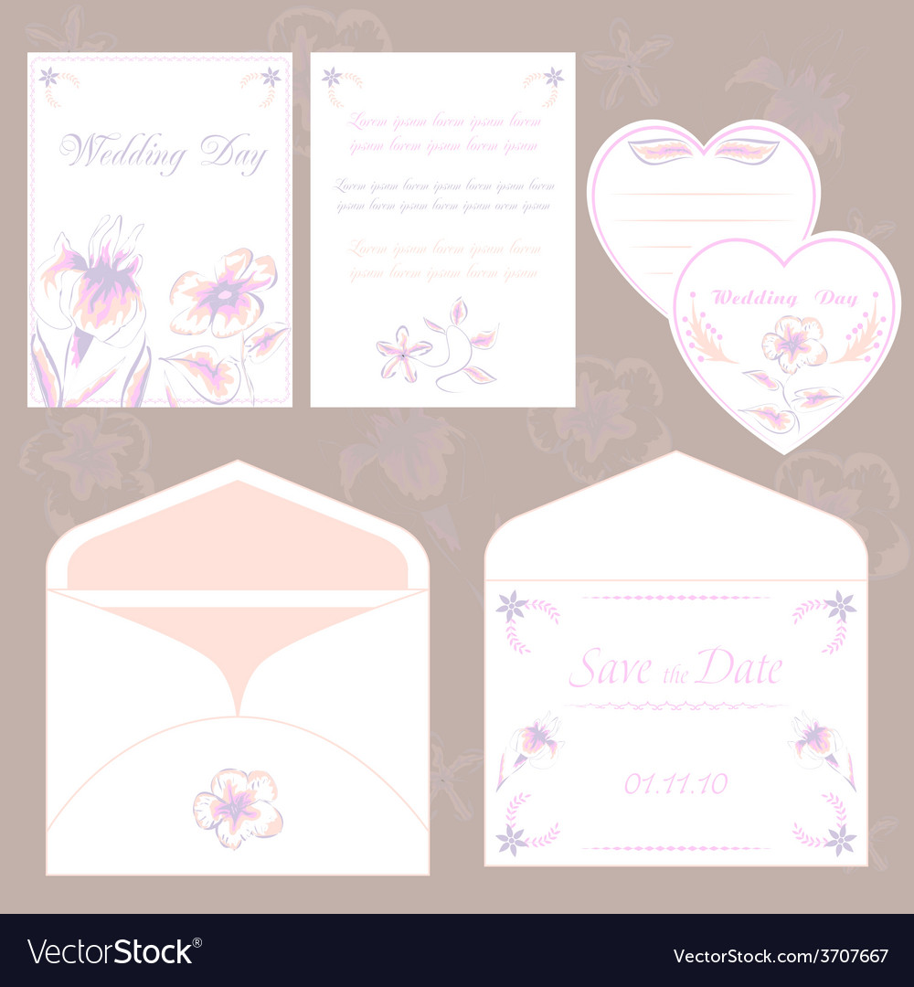 Wedding Invitation Cards And Envelope Wedding Set Vector Image
