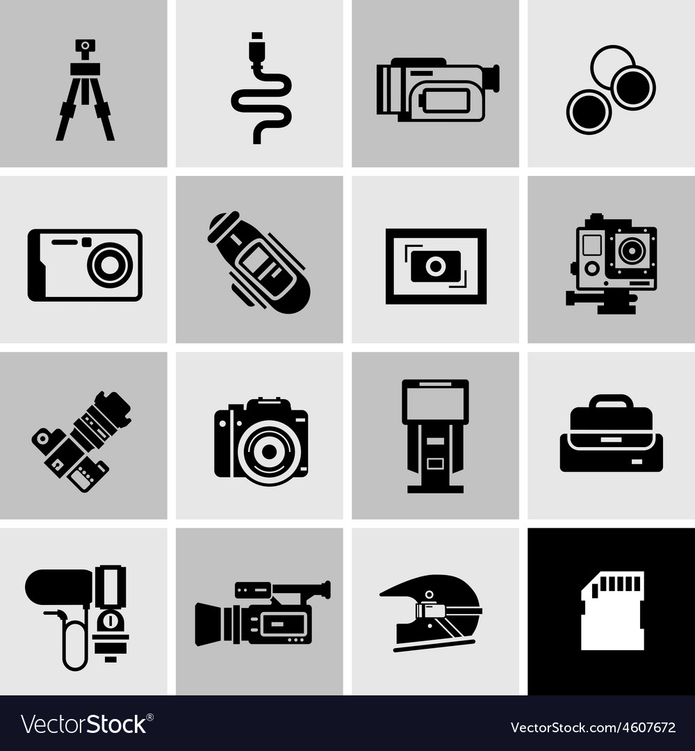 Camera Icons Black vector image