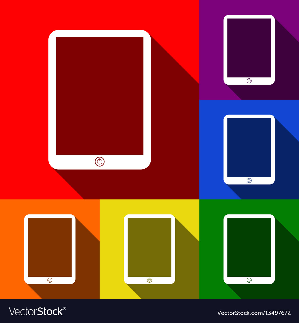 Computer tablet sign set of icons with