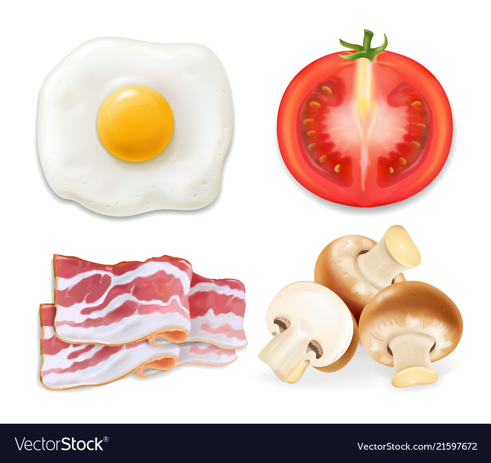 English breakfast with fried eggs bacon tomatoes