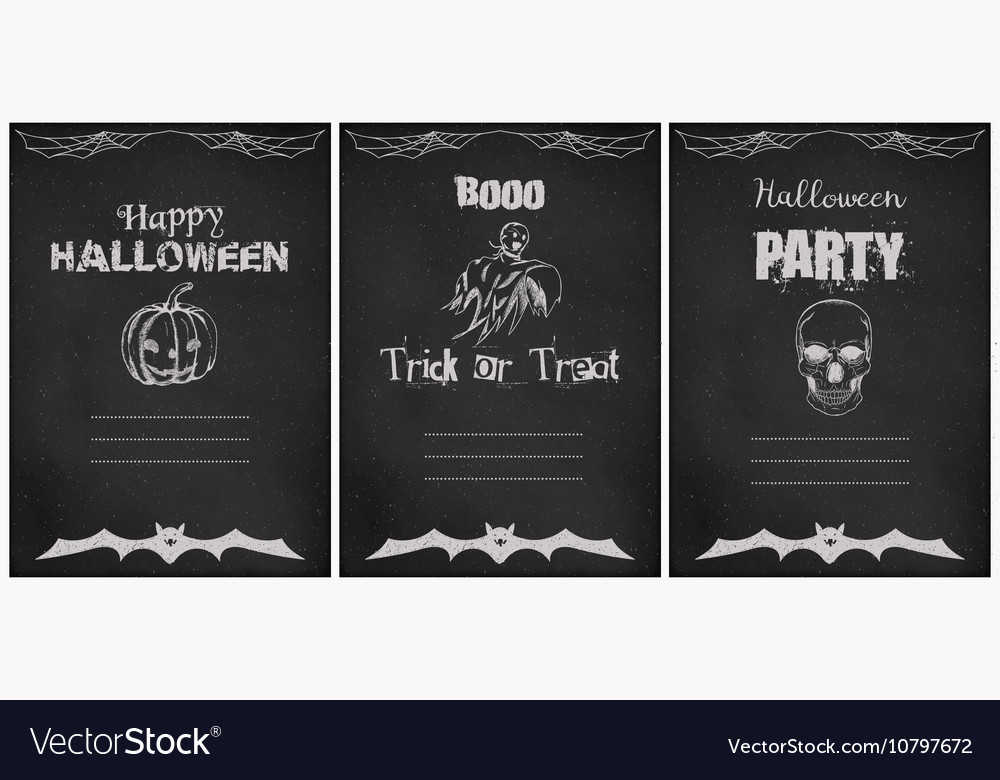 Halloween greeting cards set Grunge