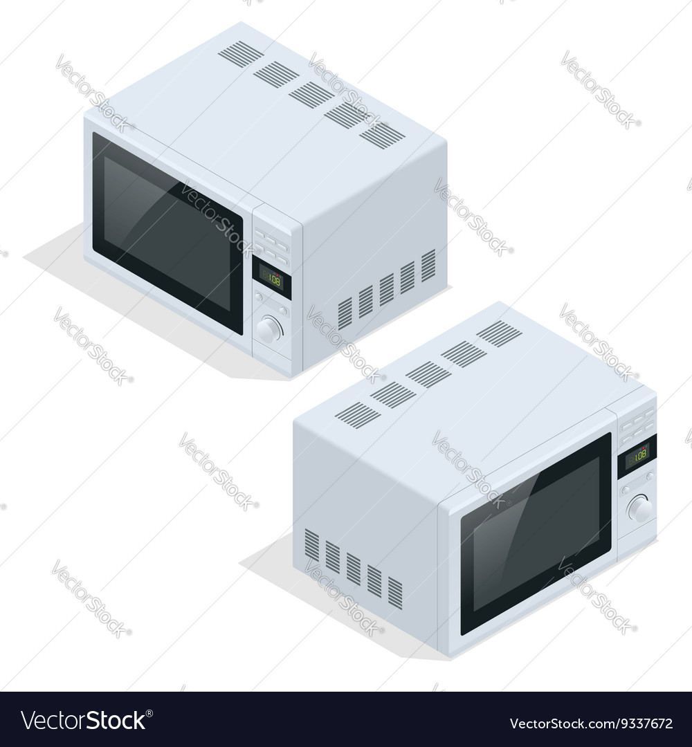 Microwave oven isolated Kitchen appliances for vector image