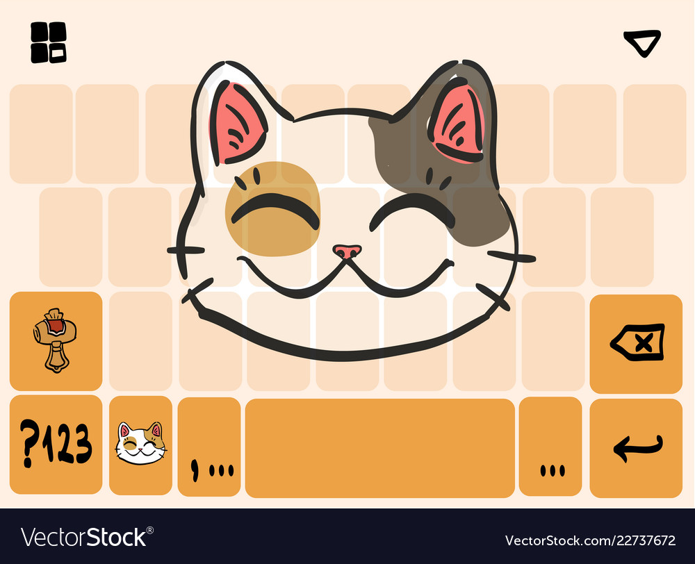 Mobile keyboard template theme with lucky cat head