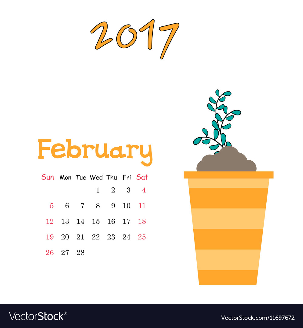 Nice calendar template for February 2017 with cute vector image
