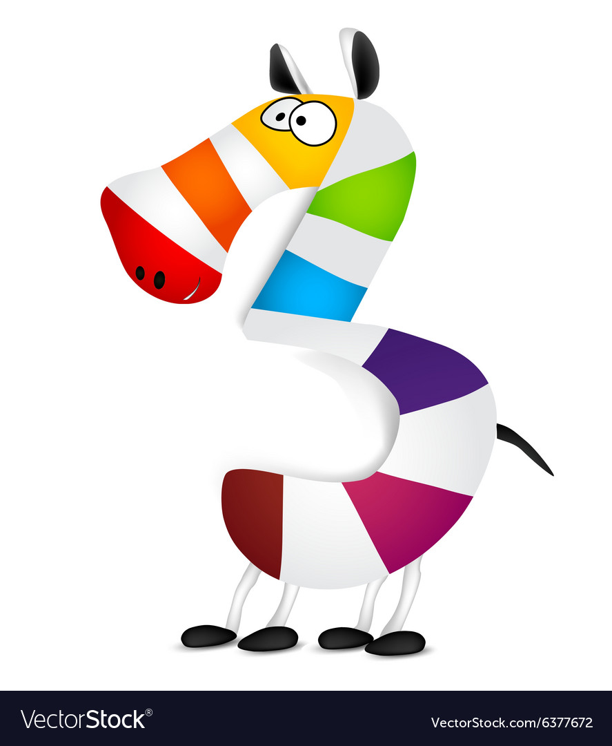 Number three Made of colorful animal cartoon vector image
