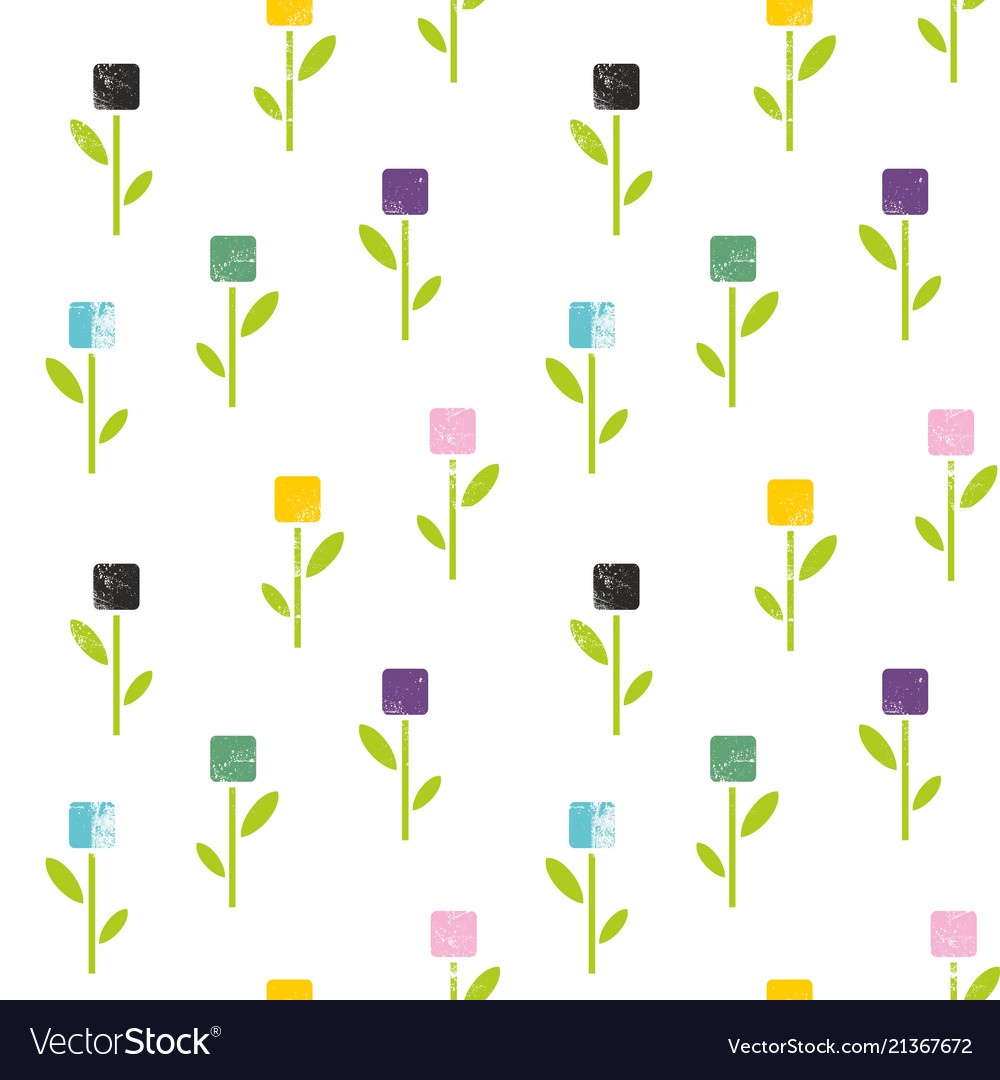 Seamless pattern of flowers in abstract style
