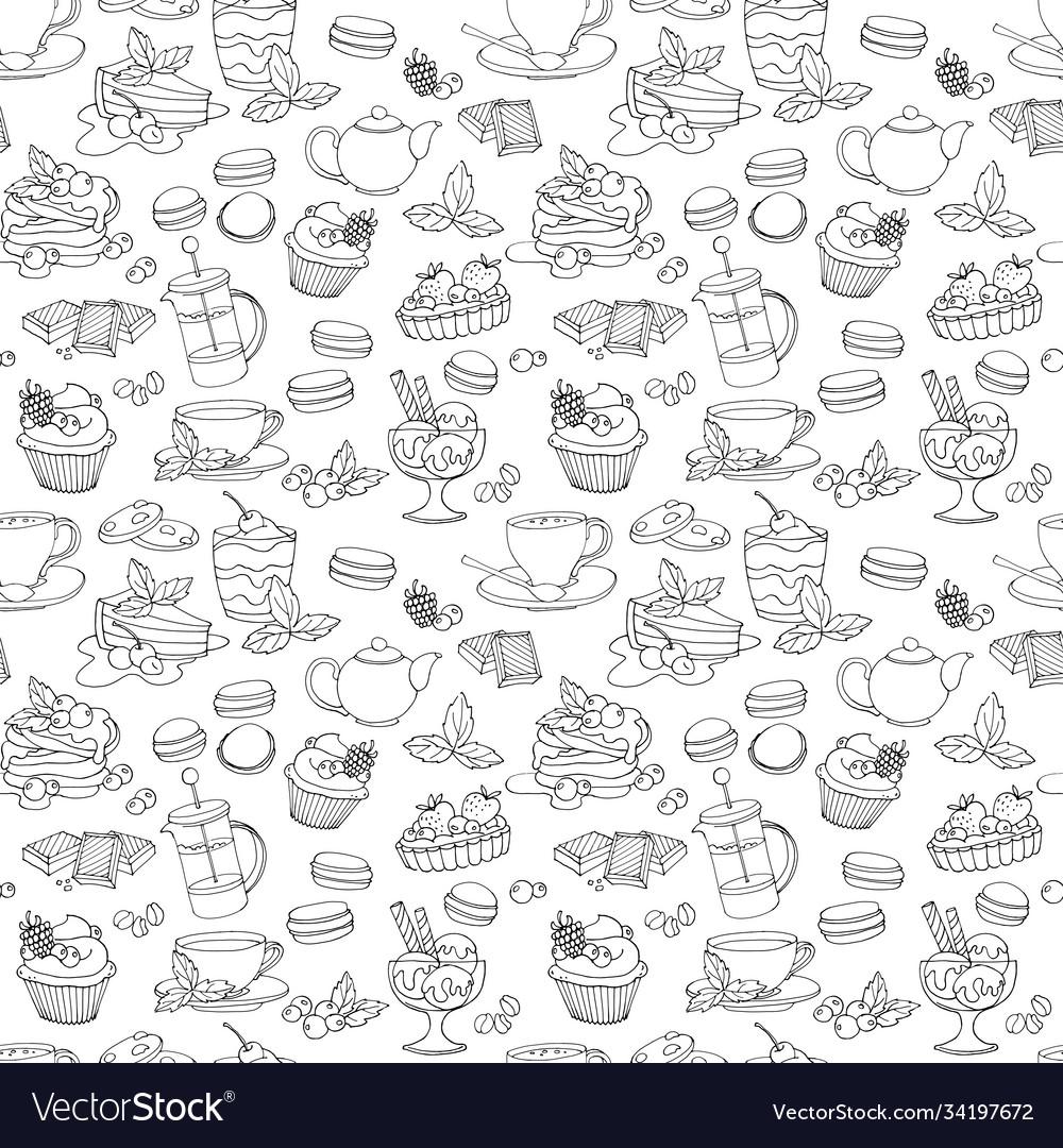Seamless pattern with fresh desserts coffee tea