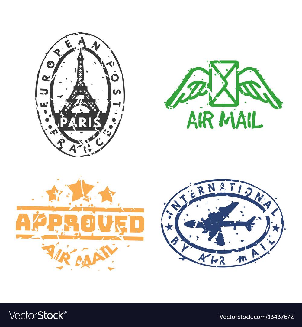 Set of vintage postage mail stamps