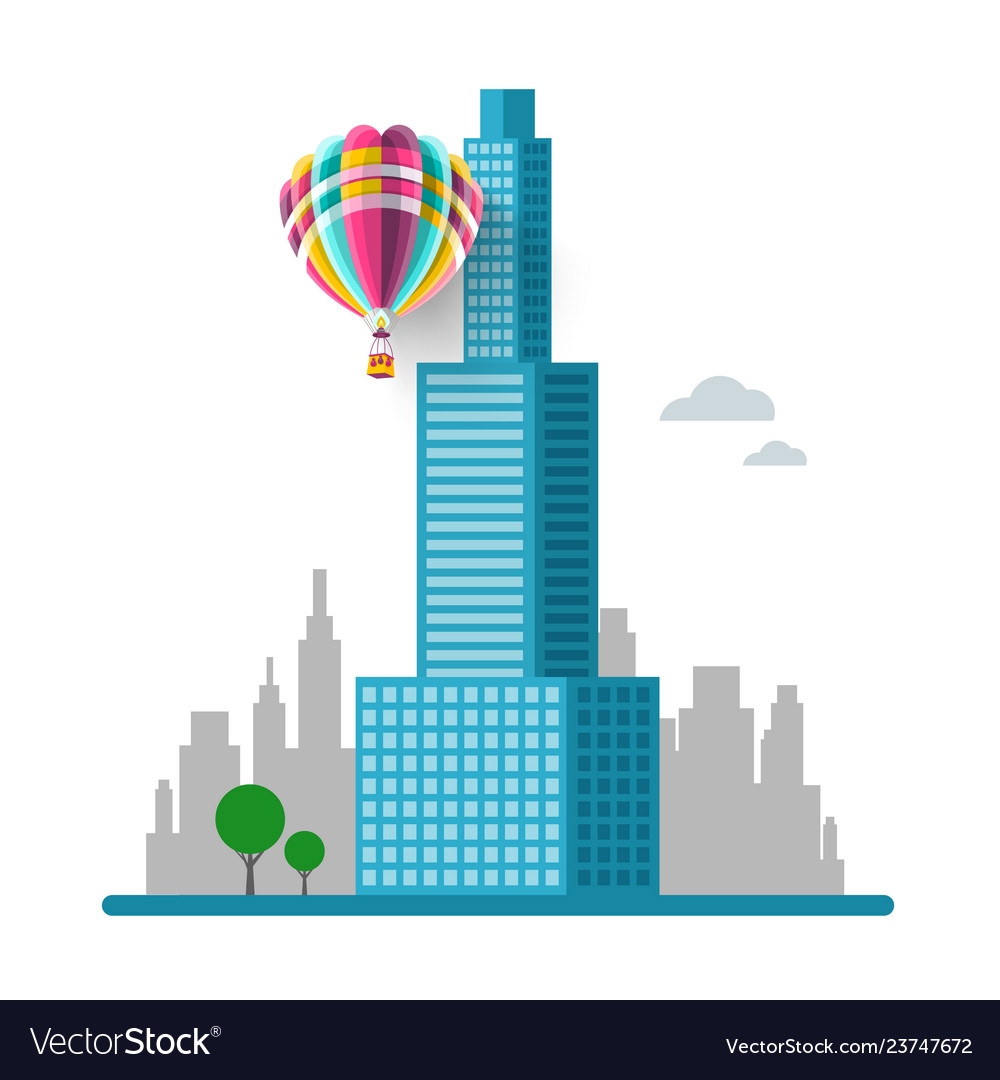 Skyscraper with city silhouette on background and