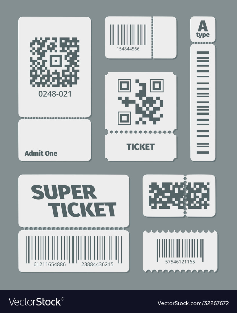 Tickets with barcode qr code set documents