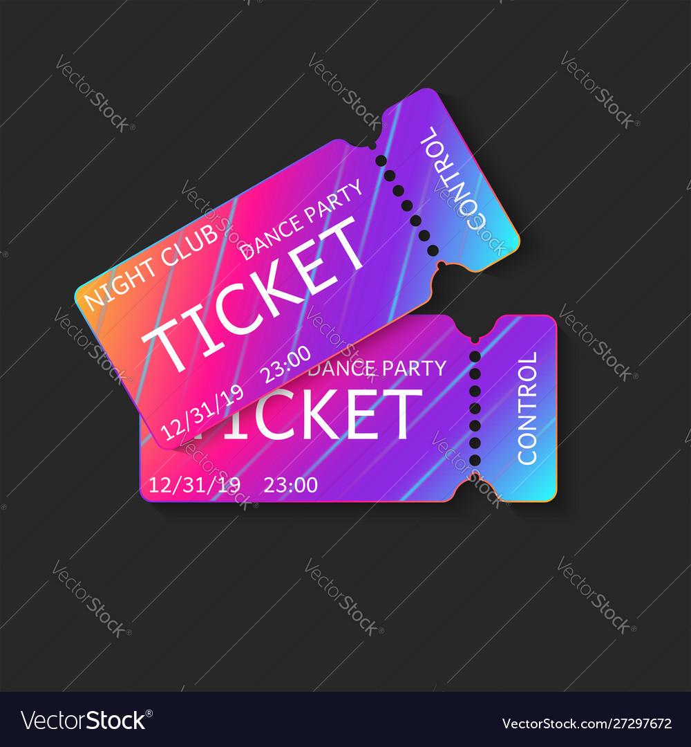 Two tickets 3d isolated mockup night club dj
